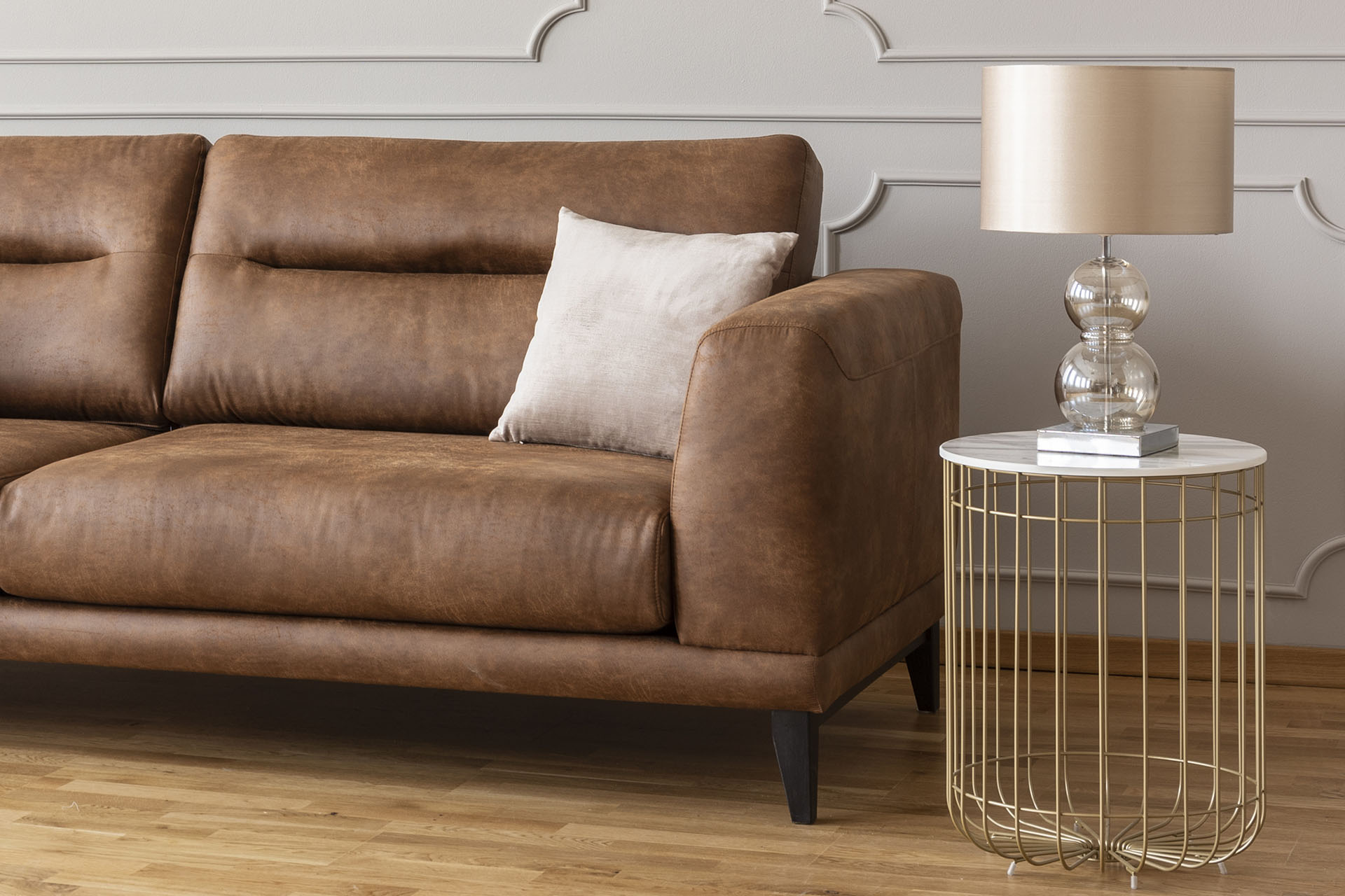 Stylish brown leather sofa